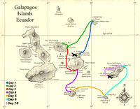 Map showing our last days sailing here in the Galapagos.